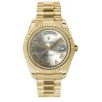 Rolex Day-Date II Silver Roman Dial Yellow Gold President 218238 SR