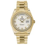 Rolex Day-Date II White Arabic Dial Yellow Gold President 218238 WA