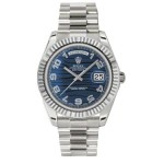 Rolex Day-Date II Blue Wave Arabic Dial White Gold President 218239 BA