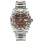 Rolex Day-Date II Brown Roman Dial White Gold President 218239 BR