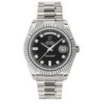 Rolex Day-Date II Black Diamond Dial White Gold President 218239 KD