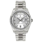 Rolex Day-Date II Silver Diamond Dial White Gold President 218239 SD