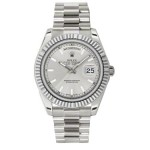 Rolex Day-Date II Silver Index Dial White Gold President 218239 SX