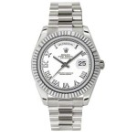 Rolex Day-Date II White Roman Numeral Dial White Gold President 218239 WR