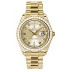 Rolex Day-Date II Champaign Diamond Dial Yellow Gold President 218348 CD