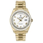 Rolex Day-Date II White Roman Numeral Dial Yellow Gold President 218348 WR