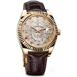 Rolex Sky Dweller Silver Dial 18kt Yellow Gold Brown Leather Mens Watch 326138