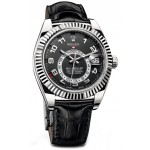 Rolex Sky Dweller Black Dial White Gold Black Leather Mens Watch 326139