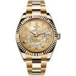Rolex Sky Dweller Champagne Dial GMT 18k Yellow Gold Mens Watch 326938