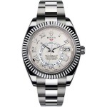 Rolex Sky Dweller Ivory Roman Dial GMT 18k White Gold Mens Watch 326939