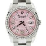 Rolex Datejust Custom Pink Wave Dial Diamond Bezel Ladies Watch 116244