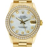 Rolex Midsize Ladies Presidential Mother Of Pearl Dial 18k Yellow Gold